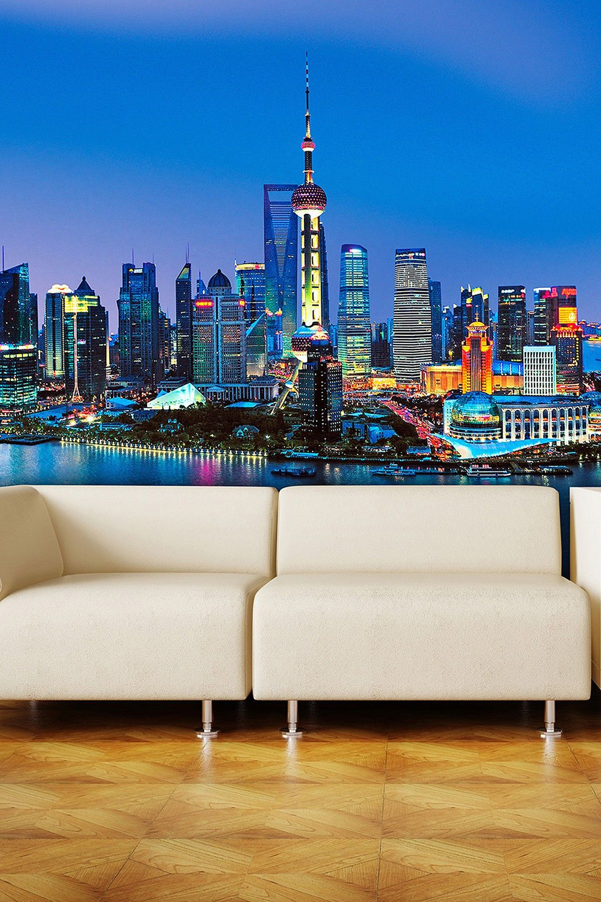 Ideal Decor Shanghai Skyline Wall Mural  Bring The Energy
