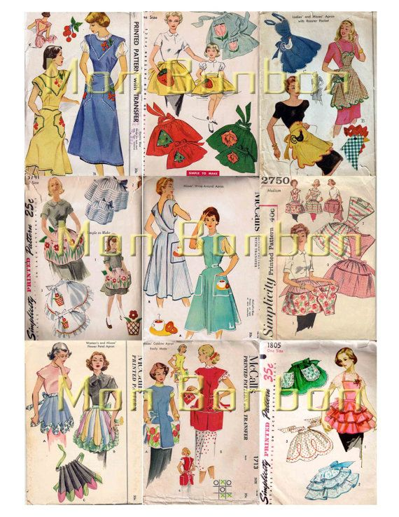 Vintage Apron Sewing Pattern Digital Collage Sheet - INSTANT ...