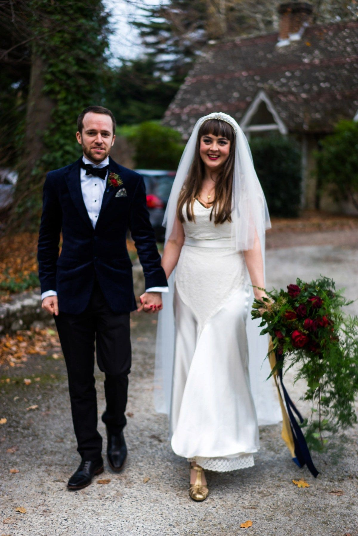 An elizabeth avey gown for a vintage glamour inspired wedding in