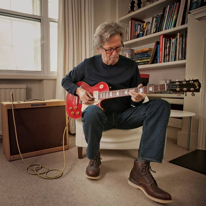 watch eric clapton talks hendrix cream and guitars at home guitar greats eric clapton. Black Bedroom Furniture Sets. Home Design Ideas
