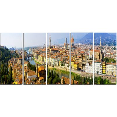 DesignArt Florence Panoramic View 5 Piece Wall Art on Wrapped Canvas Set