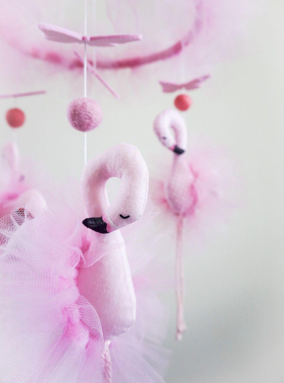 Photo of Giostrina fenicottero e farfalle in feltro rosa culla Bambina | Etsy
