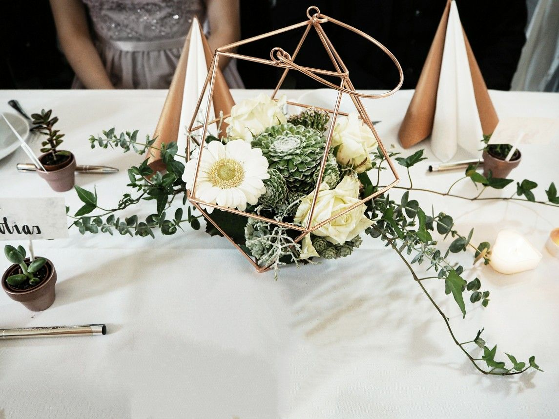 Copper Succulent Wedding Centerpiece #Copper #Geometric #Succulents ...