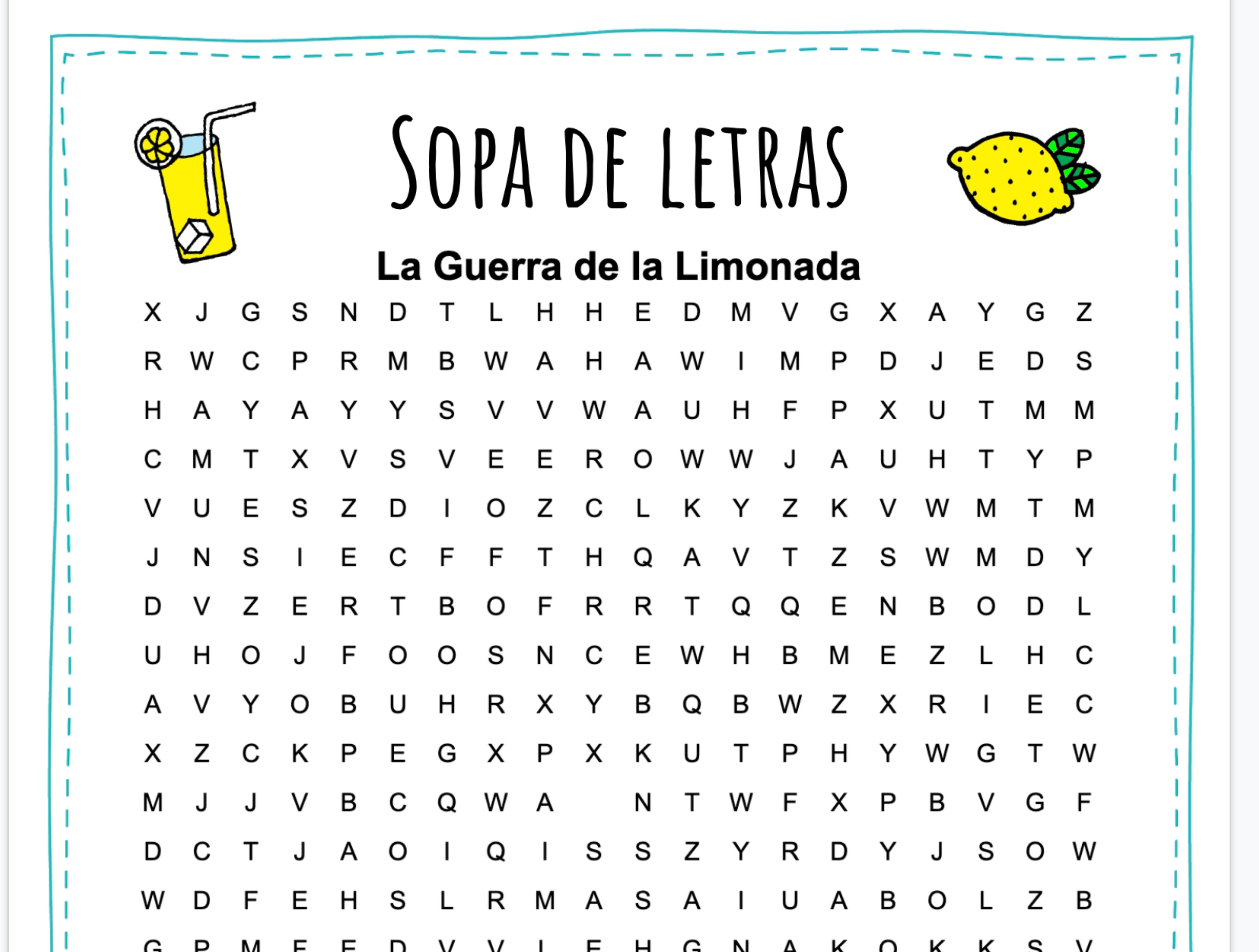 Lemonade War Dual Language Dual Language Spanish Word Search Puzzle [ 3848 x 5089 Pixel ]