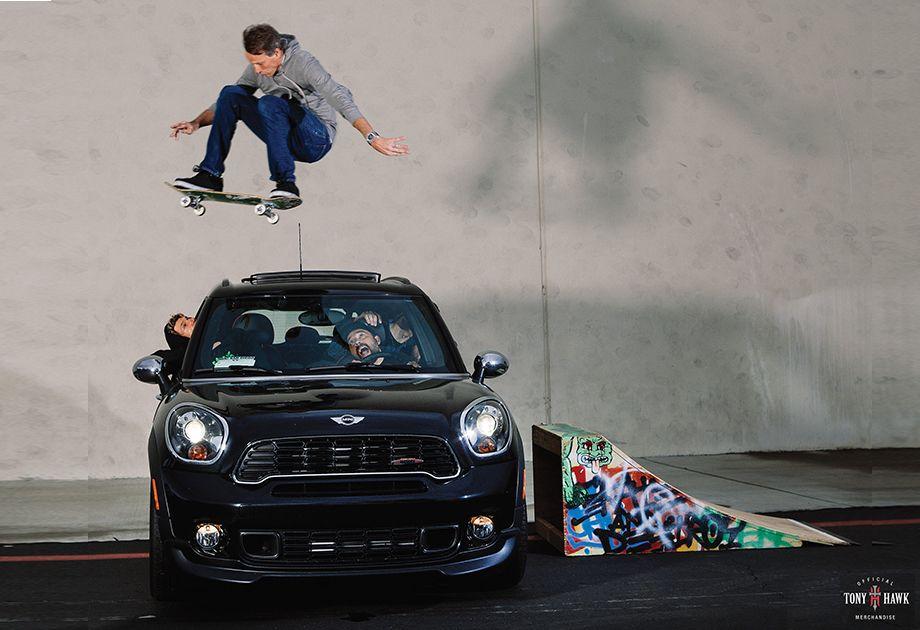 Tony Hawk Risks His Life By Jumping Over A Mini Hardtop A Split Second Before It Plows Through The Ramp Mini Usa Tony Hawk Mini Cooper Countryman