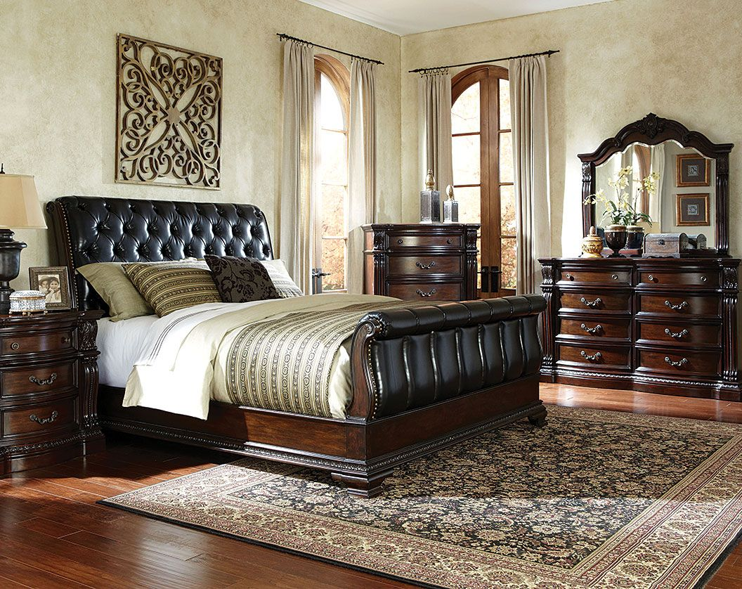 Black Sleigh Bed Suite, Leather-Like Fabric | Churchill Bedroom Set ...