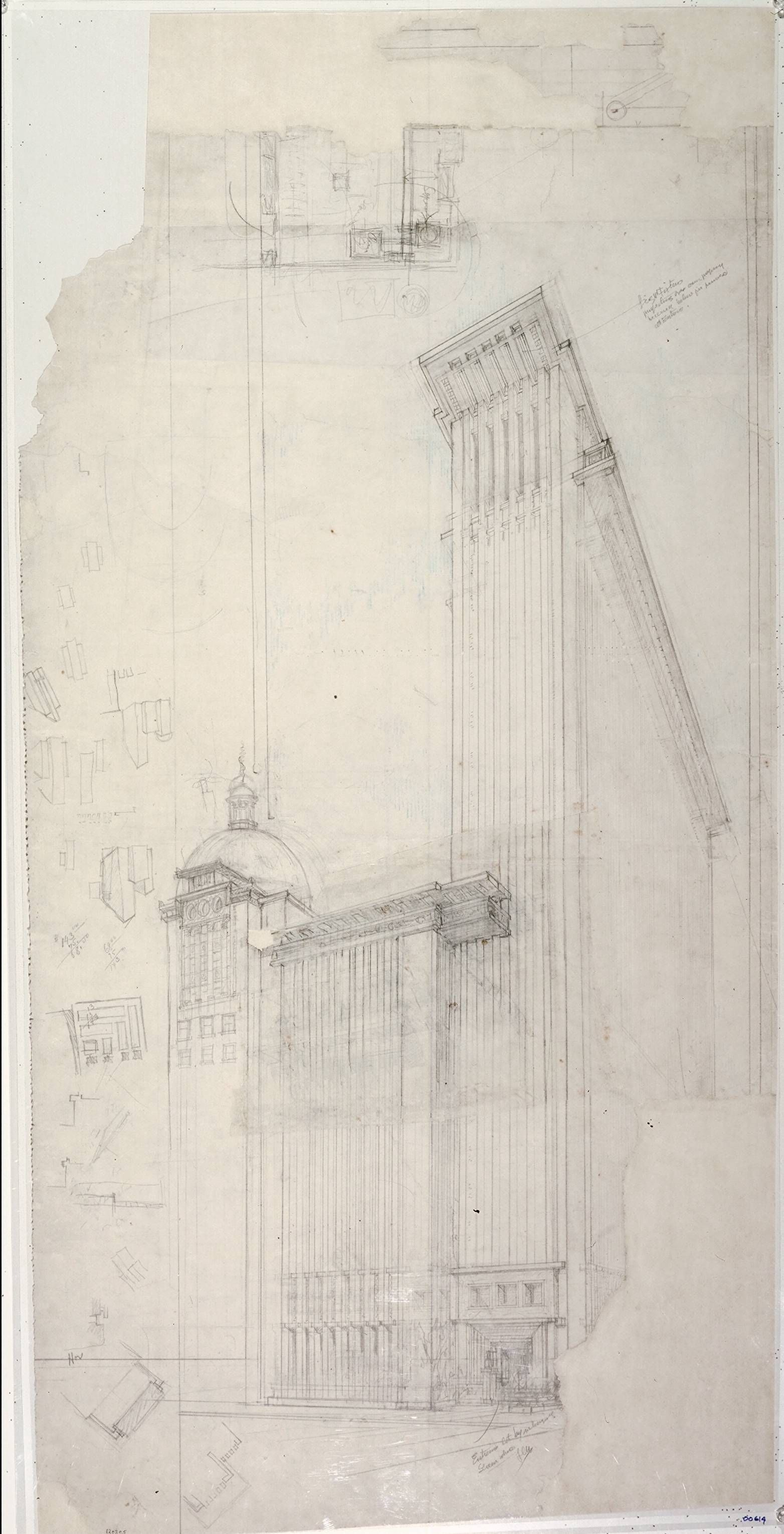 Frank Lloyd Wright (American, 1867–1959). The San Francisco Call Building. Project, 1913. Preliminary perspective. Pencil, colored pencil, a...