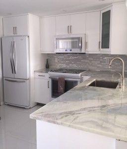 Lumen Quartzite Countertop Kitchen White Gray Completed
