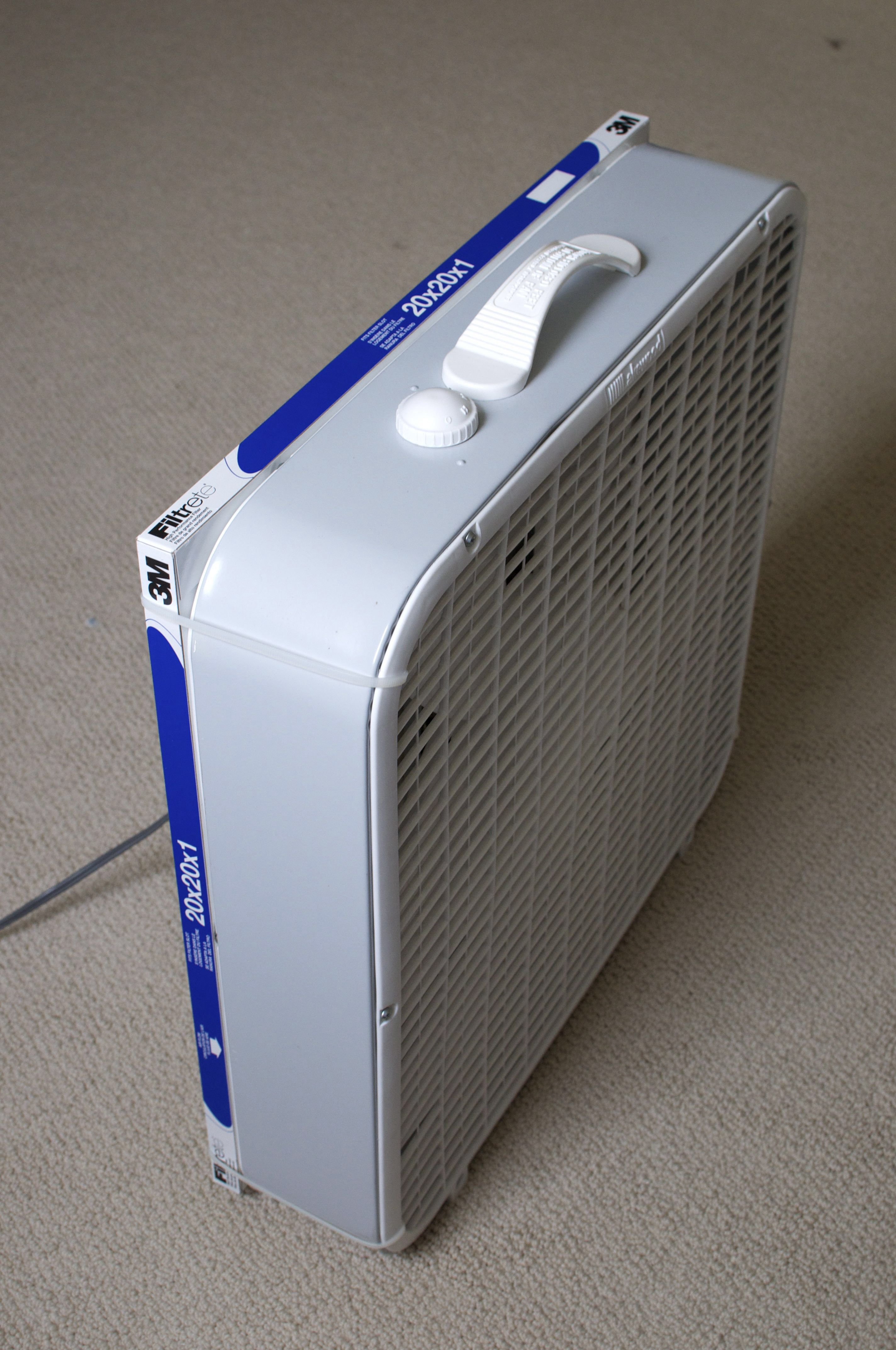 Make your own air purifier. A box/window fan with furnace
