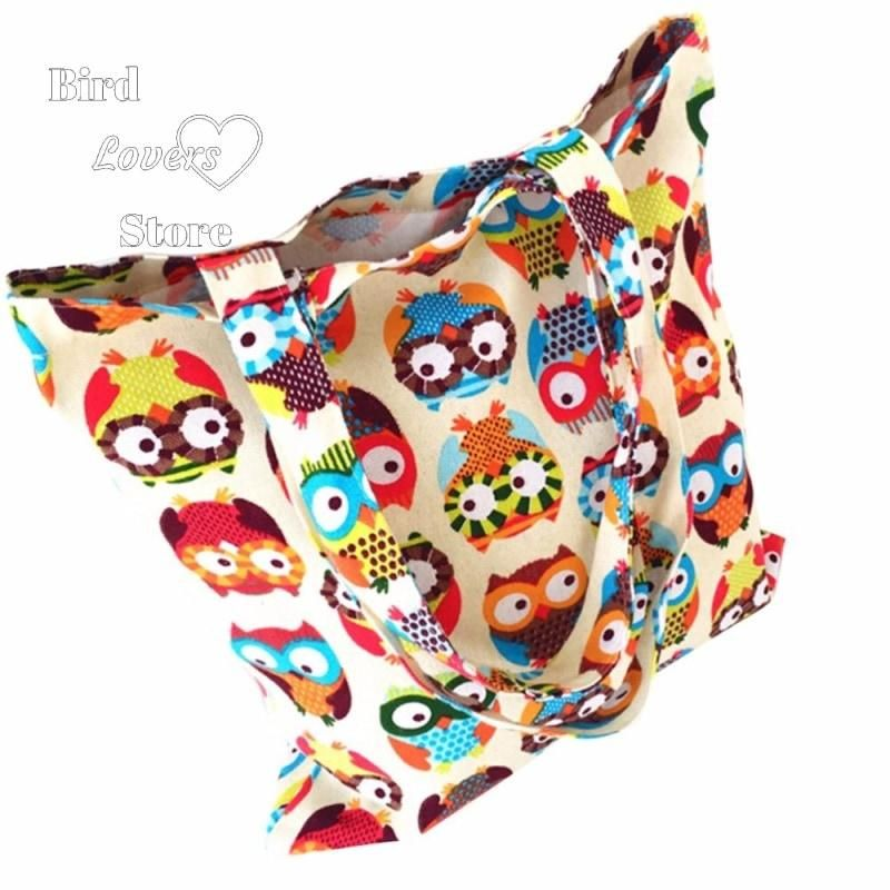 Reusable Shopping with Colorful Owls Print This bright and