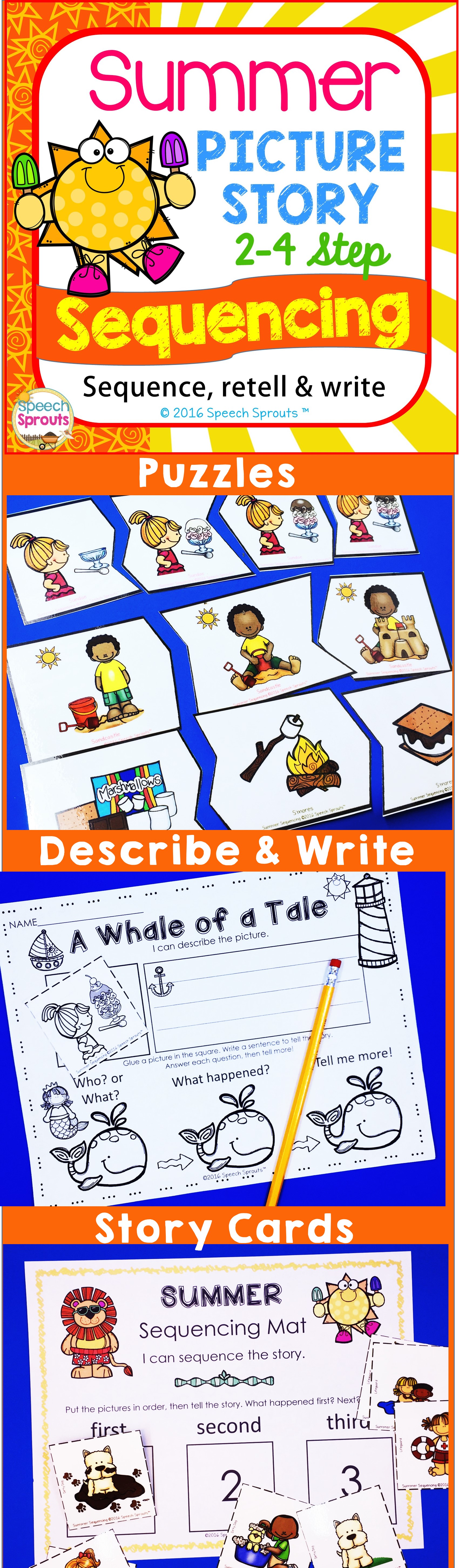 Summer Sequencing Activities With Story Retell Amp Writing Slp Collaborative Board