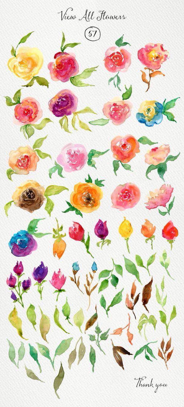 Tipos De Flores Para Intentar Hacer Con Acuarela Acuarela Arte De Acuarela Flores Pintadas