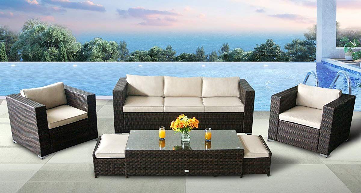 Sofa Set Modern Aluminum Rattan Wicker Furniture Sofa Set Sectional Patio Furniture Modern Sofa Set