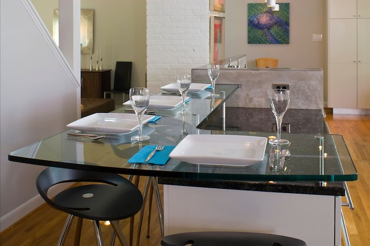 Granite Countertop With Glass Bar  Glass Countertop That Serves New Kitchen Design Granite Design Ideas