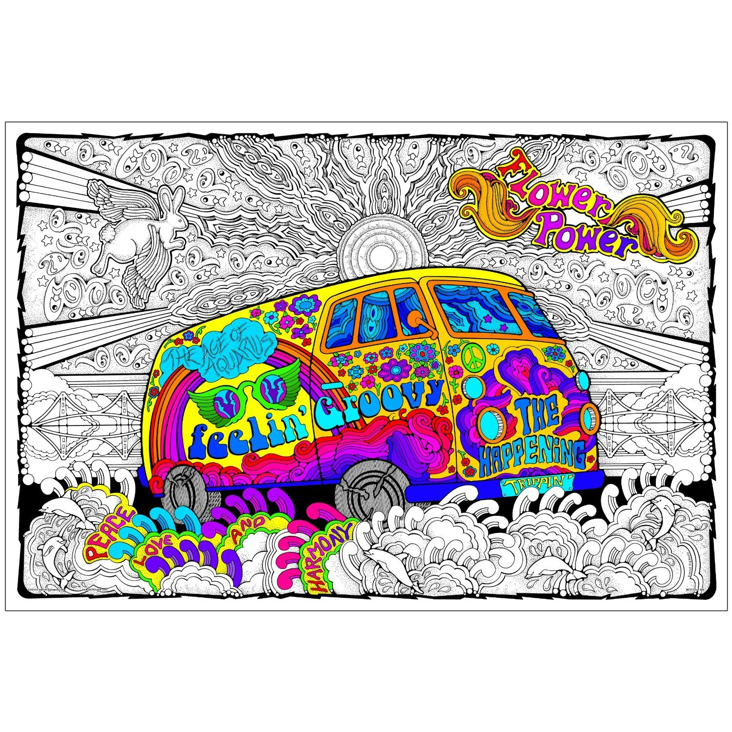 Love Bus - Giant 22 X 32.5 Inch Line Art Coloring Poster | Adult ...