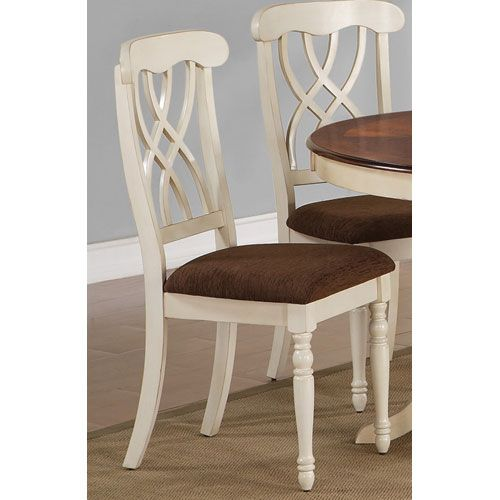 Addison White and Cherry Dining Side Chair with Double Waved X Back Design and Two Front Turned Legs