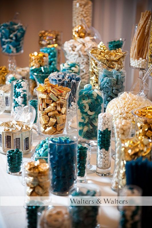 Gorgeious gold and turquoise candy buffet candy bars for Table 52 dessert