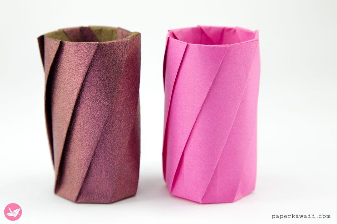 Round Origami Pots Tutorial via Paper Kawaii #kawaii #origami #Origami Blume #paper #Pots #round #tutorial