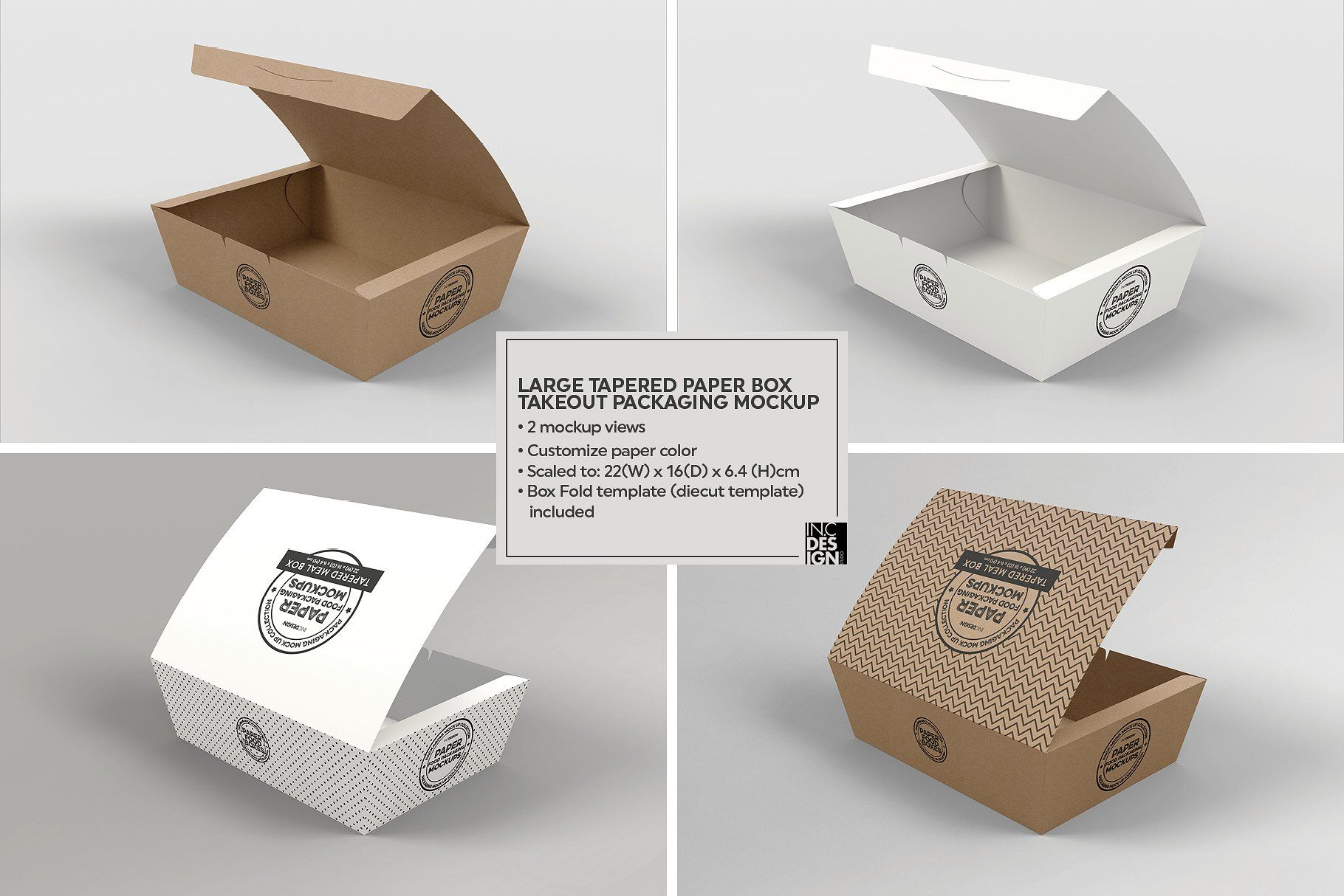 Download Paper Tapered Takeout Boxes Mockup Kertas