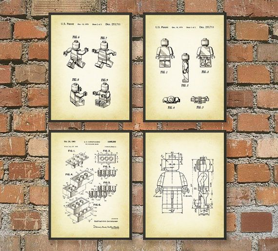 Lego Patent Wall Art Poster Set 1 These patent posters are printed ...