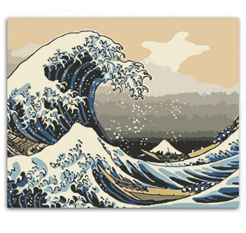 Ukiyoe Waves Paint by Number Kit, Japanese Big Wave