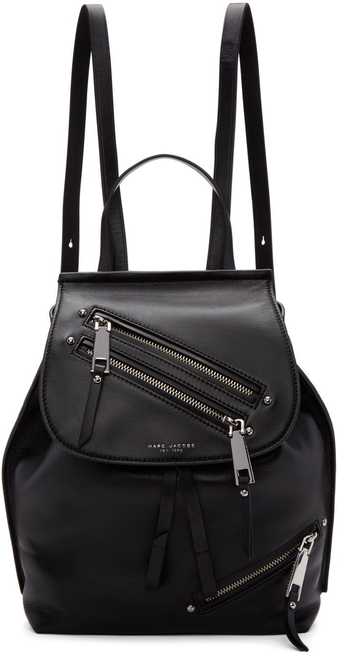 Marc Jacobs Black Leather Zip Backpack Marcjacobs Bags Lining