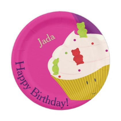 Gummy Bear Cupcake | Paper Plate - kids kid child gift idea diy personalize design  sc 1 st  Pinterest & Gummy Bear Cupcake | Paper Plate | Bear cupcakes Cupcake papers and ...