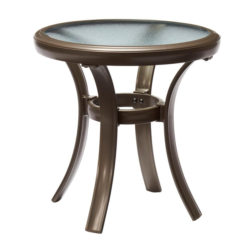 Hampton Bay Mix And Match Brown Round Aluminum Outdoor Side Table Fta60762b The Home Depot