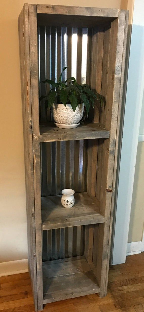 Photo of Farmhouse Shelving with Tin Backing and a Gray Rustic Finish Bathroom Shelving, Bookcase or Living Area Shelving for Decor