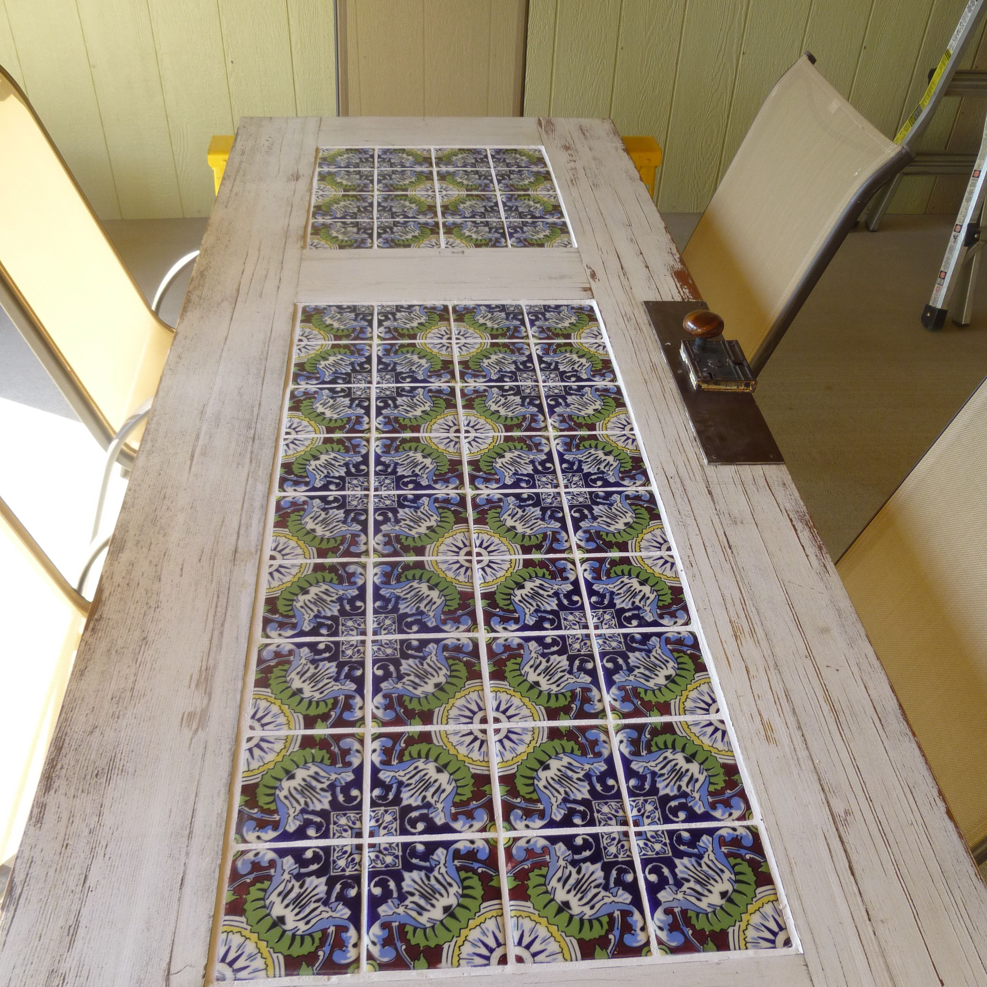 Diy Patio Door Installation: Tile And A Old Door = Patio Table
