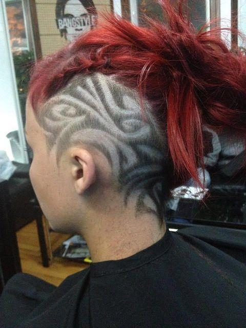 Tribal designs on hair hair ideas pinterest for Coupe de cheveux tribal femme