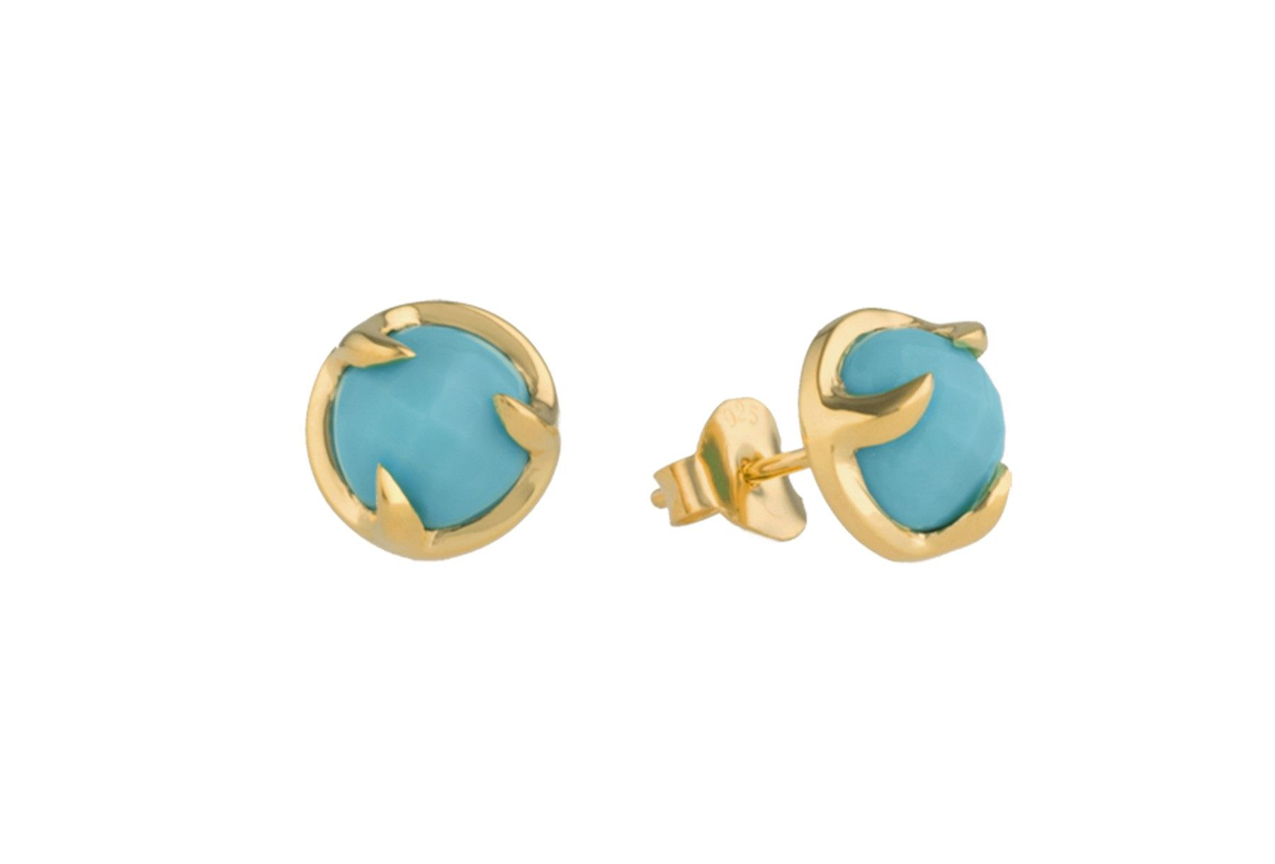 Claw turquoise gold vermeil stud earrings
