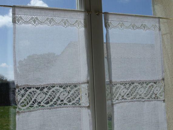 Paire de Rideaux Brise-vue en Voile de Lin pour Fenêtre ancienne ...