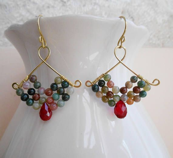 Madeleine beaded gemstone chandelier cluster earrings green red fan wire wrap dangle drop agate quartz gold fill mothers day gift for her, #agate #beaded #chandelier #cluster #dangle #day #drop #earrings #fan #fill #gemstone #Gift #gold #Green #Madeleine #mothers #quartz #Red #wire #Wrap
