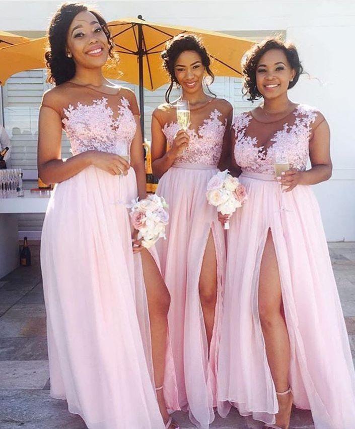 Lace Appliqued Sexy Bridesmaid Dresses,Pink Bridesmaid Dresses,Long ...
