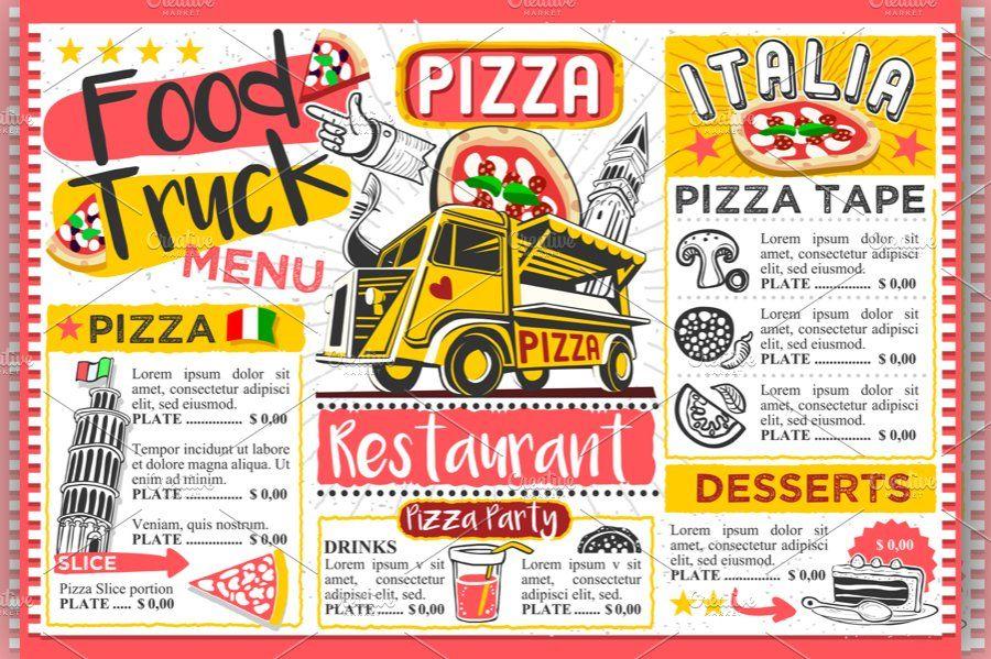 Food truck pizza menu street food food truck menu food