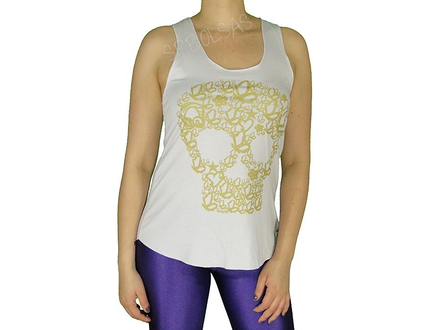 Regatas Femininas   Regata Cavada Longa Sweet Skull Branca Acesse: http://www.spbolsas.com.br/atacado/ #Regatas #Femininas #Atacado