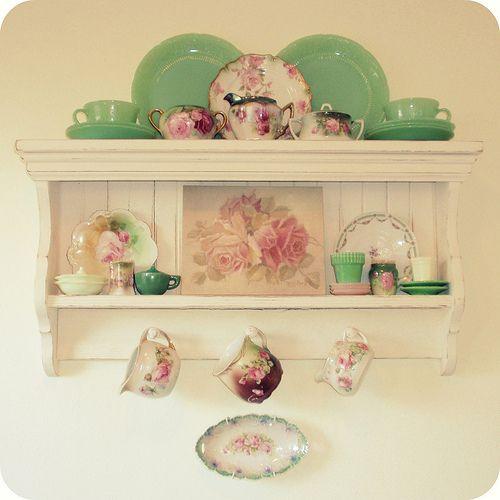 Kitchen shelf w/ jadeite and rose dishes | Kitchen shelves, Shelving ...