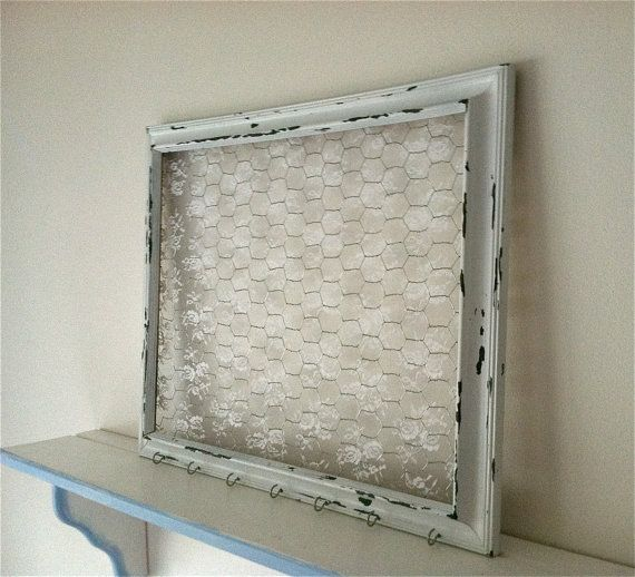 Extra Large Shabby Chic Chicken Wire Frame with Lace, Hair Bow ...