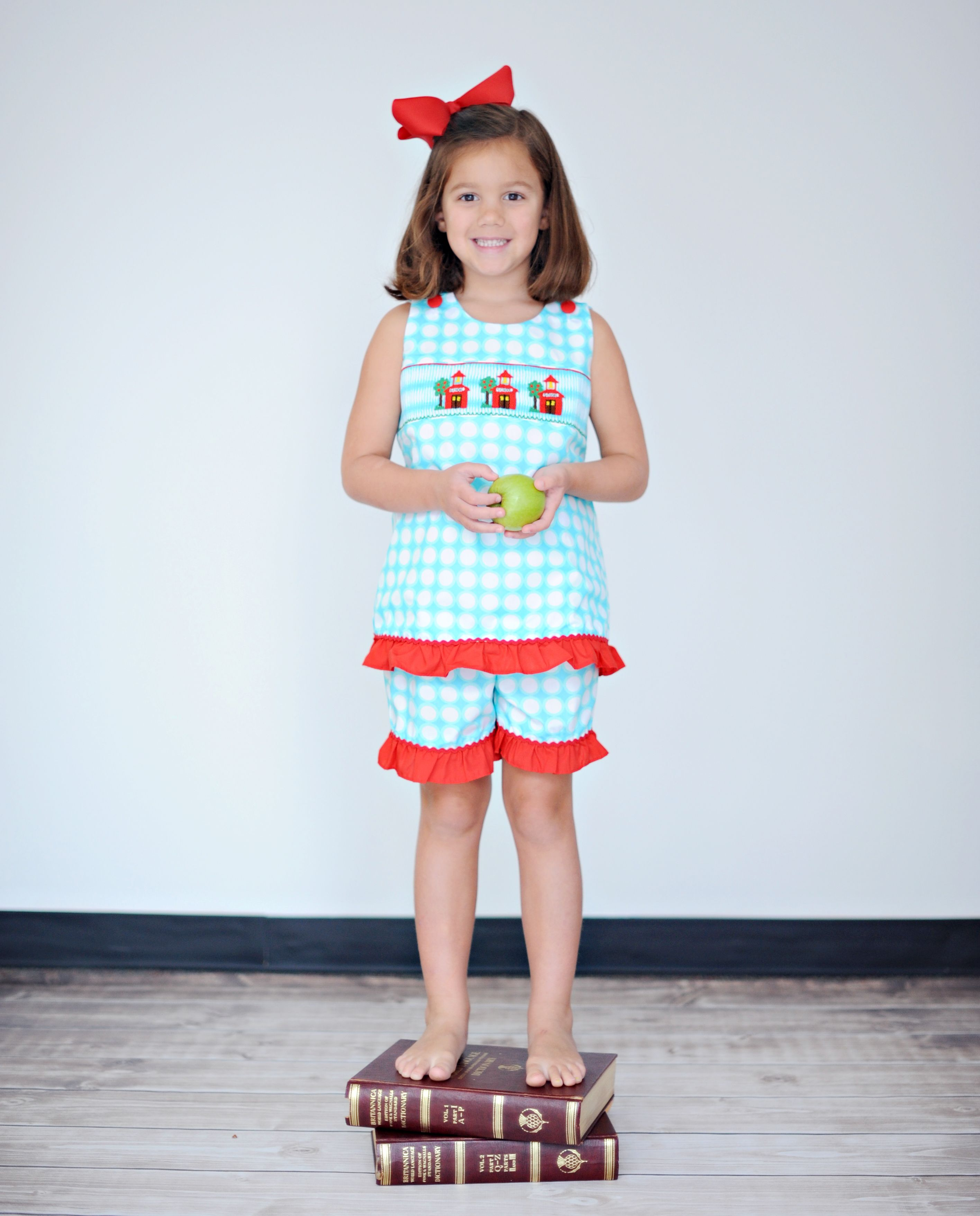 5/14/14 Aqua & Red Smocked School House Short Set PRE-ORDER