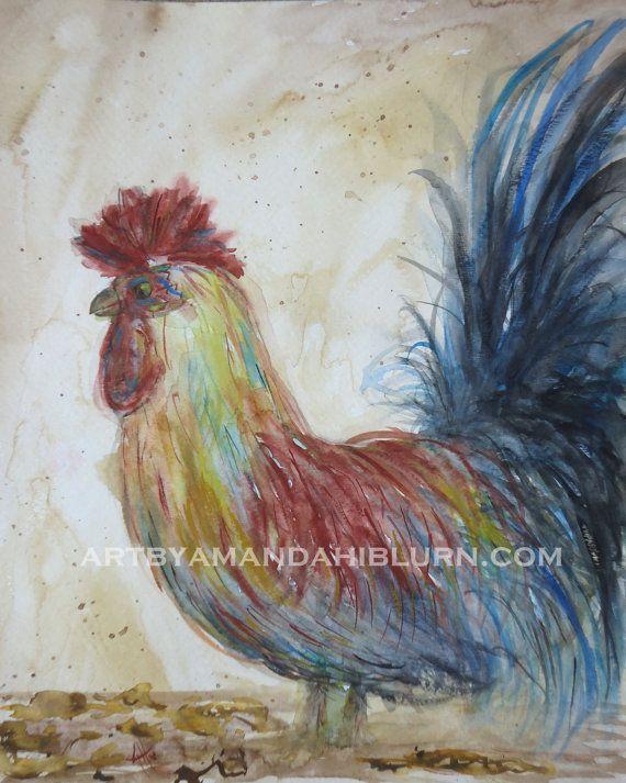Old Mr. Rooster 8x10 Print by artbyamandahilburn on Etsy