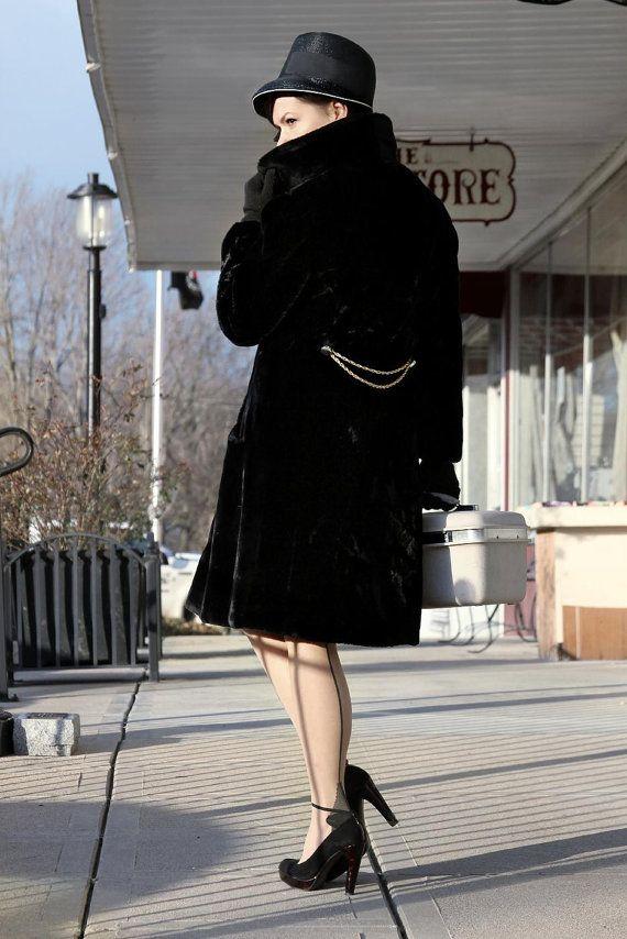 VINTAGE Black FAUX FUR coat  large winter coat  high by CedarBelle, $100.00