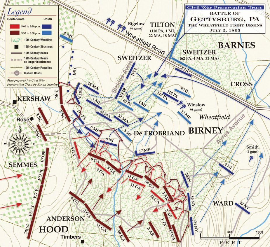 Gettysburg The Wheatfield And Peach Orchard July 2 1863 5 45pm To 6 30pm Wheatfield American Civil War Civil War Confederate