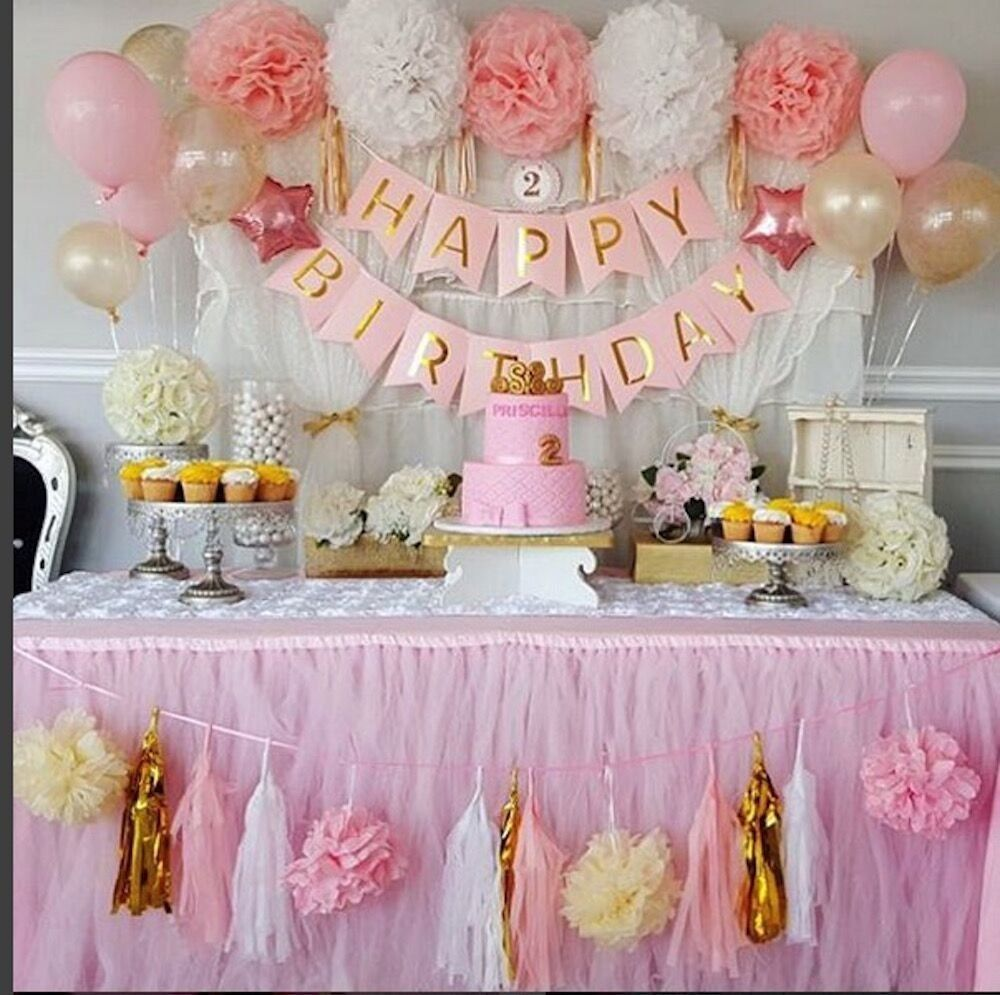 Qian 39 s party baby pink and gold white baby for Baby girl birthday decoration pictures