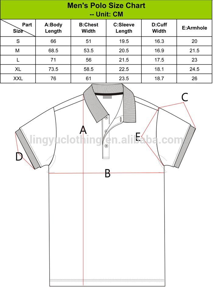 polo shirt size chart. Black Bedroom Furniture Sets. Home Design Ideas