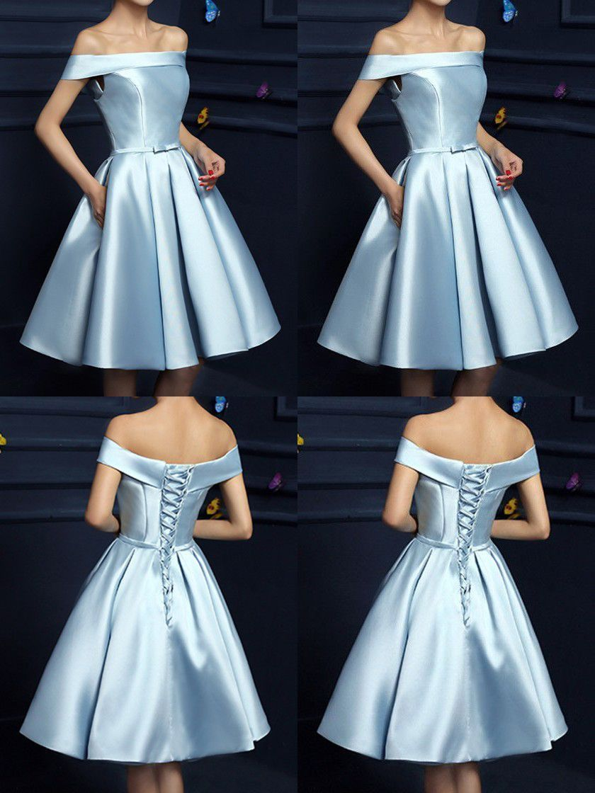 Elegant off the shoulder homecoming dresseslight blue homecoming