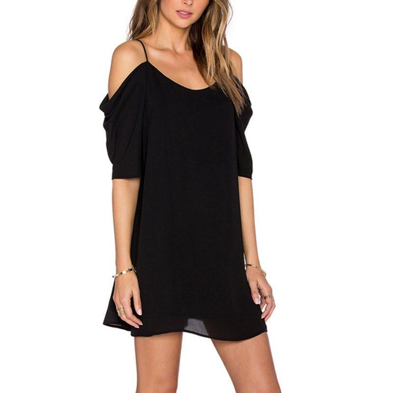 Details about Women's Off Shoulder Mini Dress Plus Size Chiffon Baggy Tee Shirts Blouse Tops #silvesteroutfitdamen