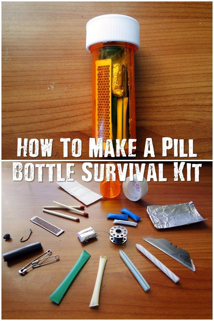 How To Make A Pill Bottle Survival Kit - These little pill bottle survival kits have the bare minimum to survive a night or two in the wild. The pill bottle has one more ace up it's sleeve too, its water proof so your kit can get submerged and you will have a dry match or two waiting to get your fire started. #survivalkit #prepping #preparedness #prepper #survival #shtf #selfsufficient #survivalkitessentials