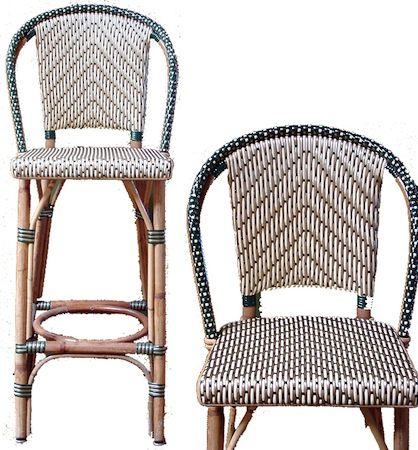 Authentic French Bistro Rilsan U0026 Rattan Bar Stools.