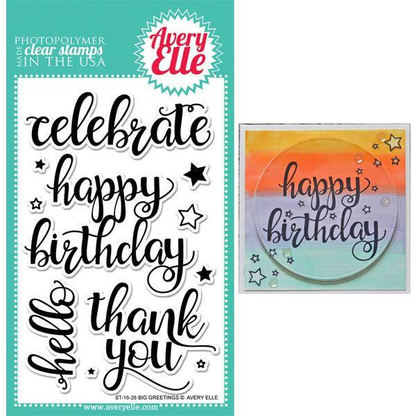 "Avery Elle /""BIG GREETINGS/"" Clear Photopolymer Stamps Set"